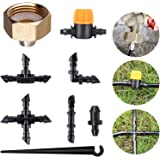 """HOMENOTE 81 Piece Irrigation Tubing Connectors for 1/4"""" Tubing, Drip Irrigation Barb Assortment Kit, Compatible for Drip or S"""