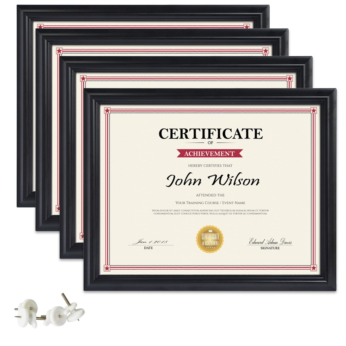 PETAFLOP 8.5x11 Picture Frames 4pcs Black Diploma Frame Set for Certificate Document Protection Wall and Tabletop Mounting Type by PETAFLOP