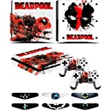 PS4 Slim Skins - Decals for PS4 Controller Playstation 4 Slim - Stickers Cover for PS4 Slim Controller Sony Playstation Four Slim Accessories with Dualshock 4 Two Controllers Skin - Deadpool