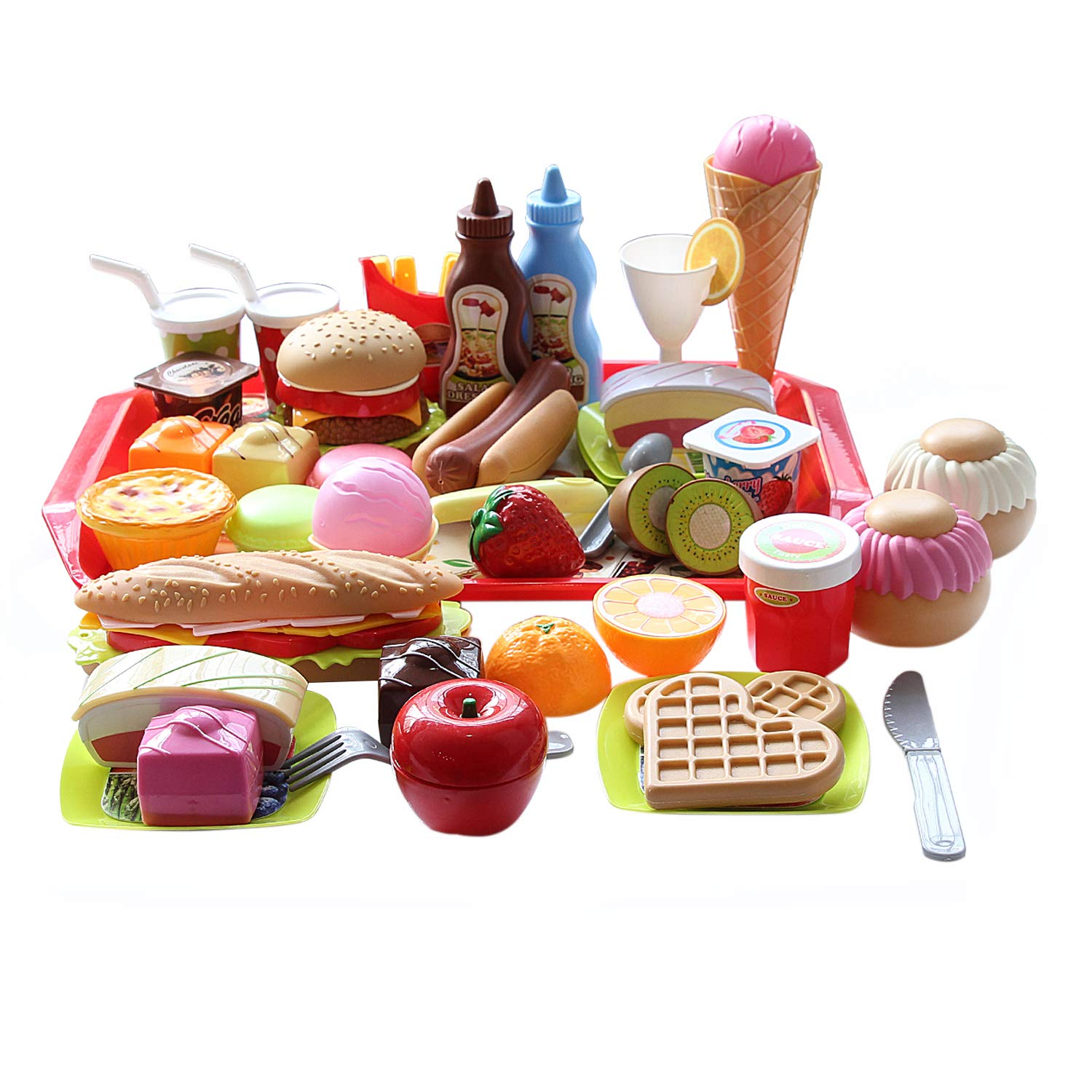CatchStar Fast Food Toy Set Variety Fast Food Pretend Playset Durable Plastic Pretend Play Food Snack Fast Food Burger French Fries Toys Gift for Kids Toddler Childrens Play Kitchen Outdoor Picnic