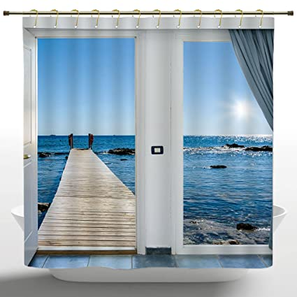 IPrint Fancy Shower Curtain By Beach Theme DecorCoastal Decor Ocean Sea Sunny Scenery