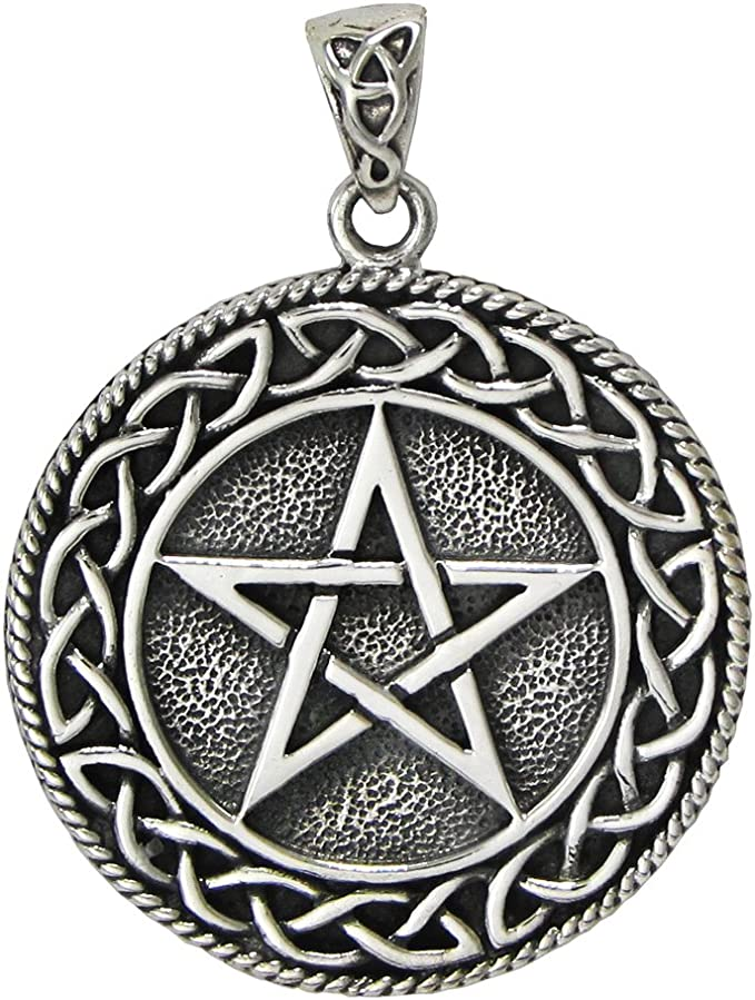 Jewelry Supply Sterling Silver Celtic Pentagram with Crescent Moon Pendant Beading Supply Celtic Knot Celestial Pendant Celtic Charm