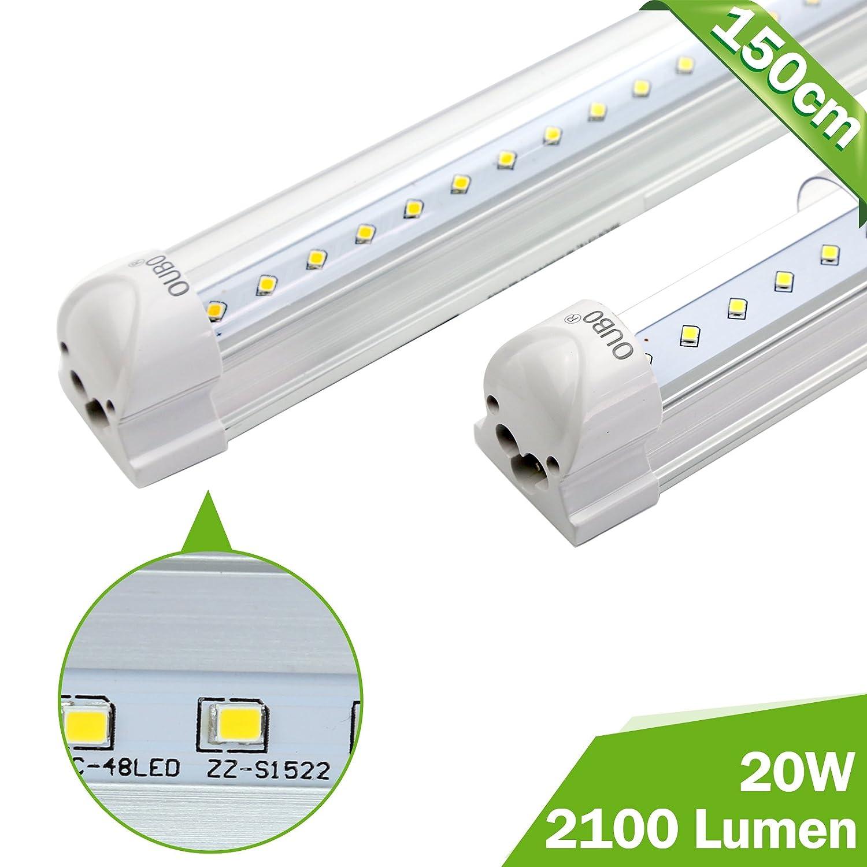 OUBO T8 tubo neon LED Lampada fluorescente 150cm Bianco freddo (6500k) 23w 2300Lm, 230 volt copertura trasparente, per supermercato, magazzino, Officina, garage [Classe di efficienza energetica A+]