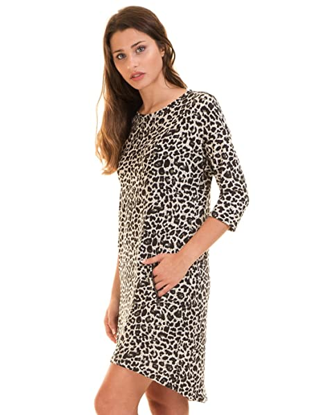 e4f446328 ICHI Vestido Corto Leopardo Blanco Negro (S - Leopardo)  Amazon.es ...