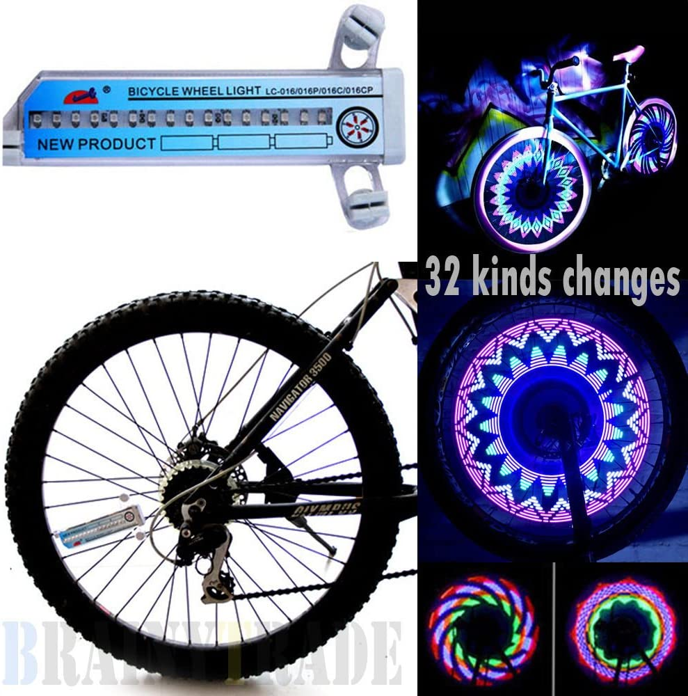 128 LEDs DIY Wheel Display Bicycle Tire Spoke Light Programmable Flash Pictures