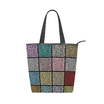 LORVIES Juego de patrones de leopardo bolsa de lona con cremallera bolso de hombro bolso de