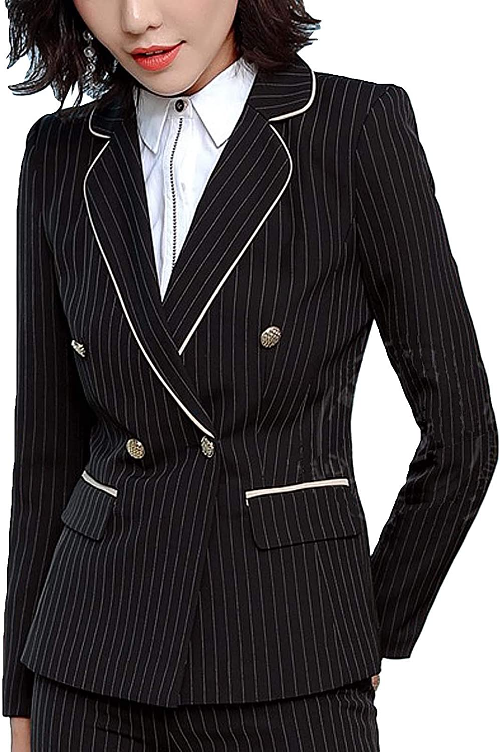 MFrannie Women Spring Summer Stripes Office Lady Two-Button Blazer Jacket