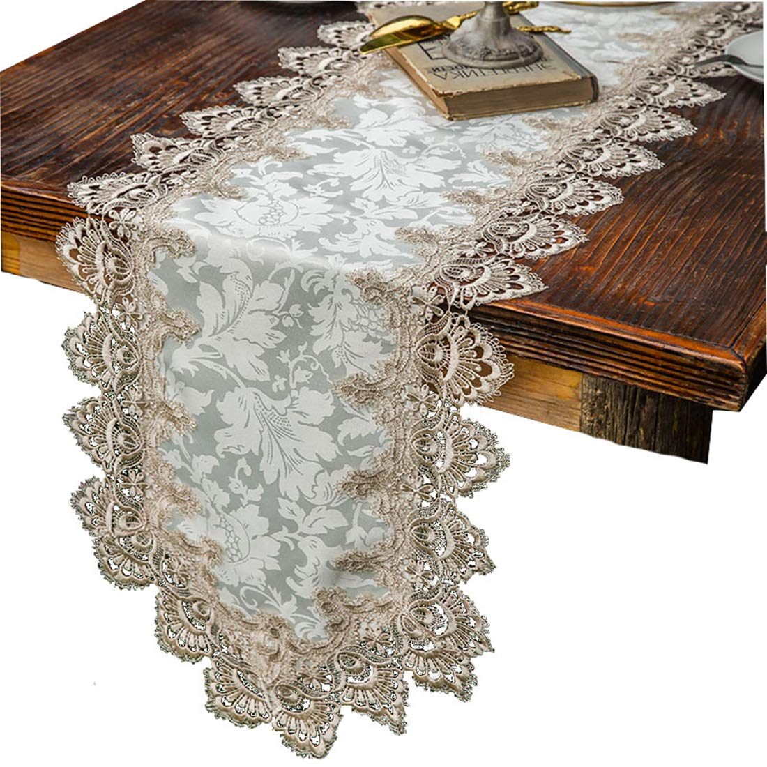 (15.7 x 35.4 inches(40 x 90cm)) - TaiXiuHome Modern Lace Floral Embroidered Indoor Outdoor Table Runner Table flags for Country Rustic Party Wedding Home Decoration approx 41cm x 90cm 15.7 x 35.4 inches(40 x 90cm)  B0757KNJ6C