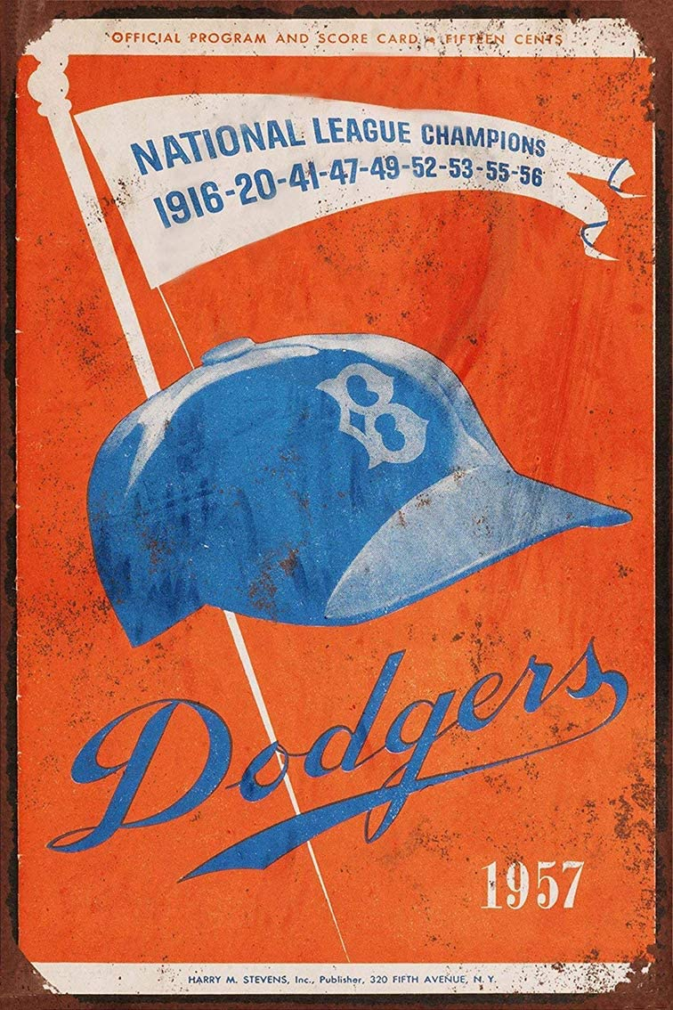 Jesiceny New Tin Sign 1957 Brooklyn Dodgers Last Game in Brooklyn Aluminum Metal Sign 8x12 Inches