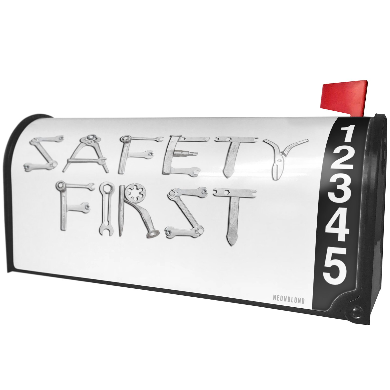 NEONBLOND Safety First Tools Metal Looking Magnetic Mailbox Cover Custom Numbers