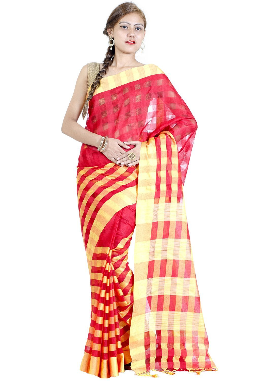 Chandrakala Red Banarasi Cotton Blend Saree