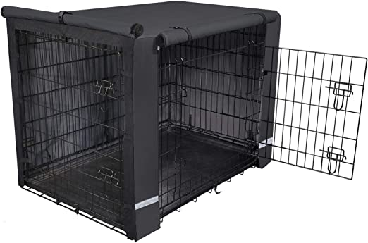 yotache Dog Crate Cover for 36 42 48 Inches Double Door Wire Dog Cage, Lightweight 600D Polyester Indoor/Outdoor Durable Waterproof Pet Kennel Covers, Black