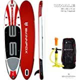 SKINFOX WHALE DOUBLE Layer SUP Board CARBON SET weiss-rot Paddelboard aufblasbares SUP 365x80x15; (190 kg Tragkraft)