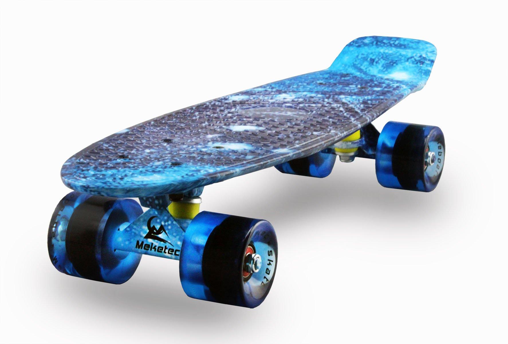 MEKETEC Skateboards Complete Mini Cruiser Retro Skateboard for Kids Boys Youths Beginners 22 Inch(The starry sky)