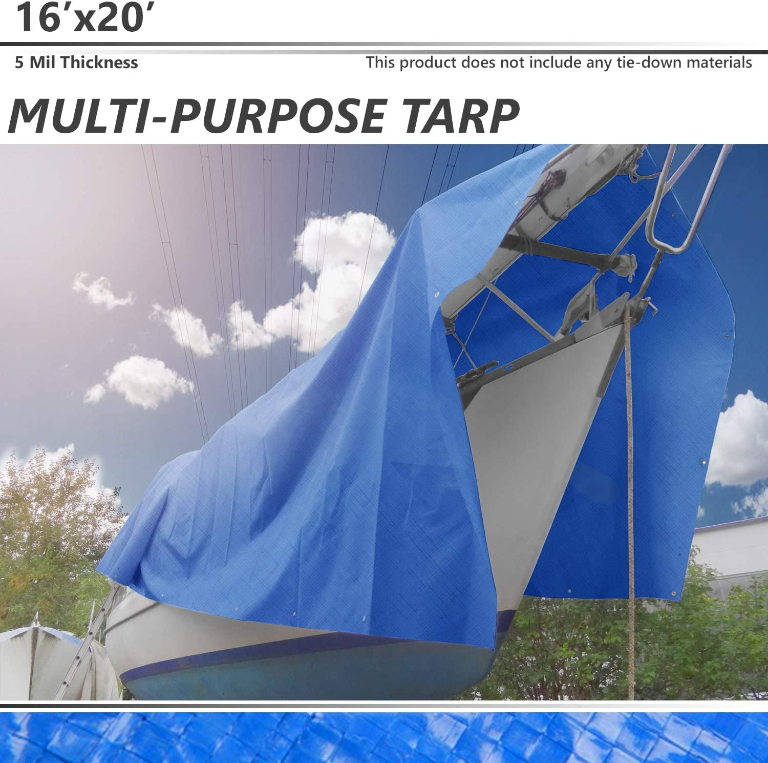 RV or Pool Cover UV Resistant for Tarpaulin Canopy Tent Boat Silver Multi-Purpose Waterproof Reinforced Rip-Stop with Grommets BOUYA 8 x 10 Tarp 10-mil Heavy Duty Thick Material