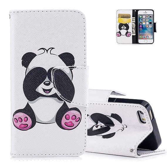 5S Lederhülle,Aeeque Slim Flip Ledertasche,Süß Neuheit Tier Panda Muster Brieftasche Schutzhülle,Kartenfach Standfunktion Cas