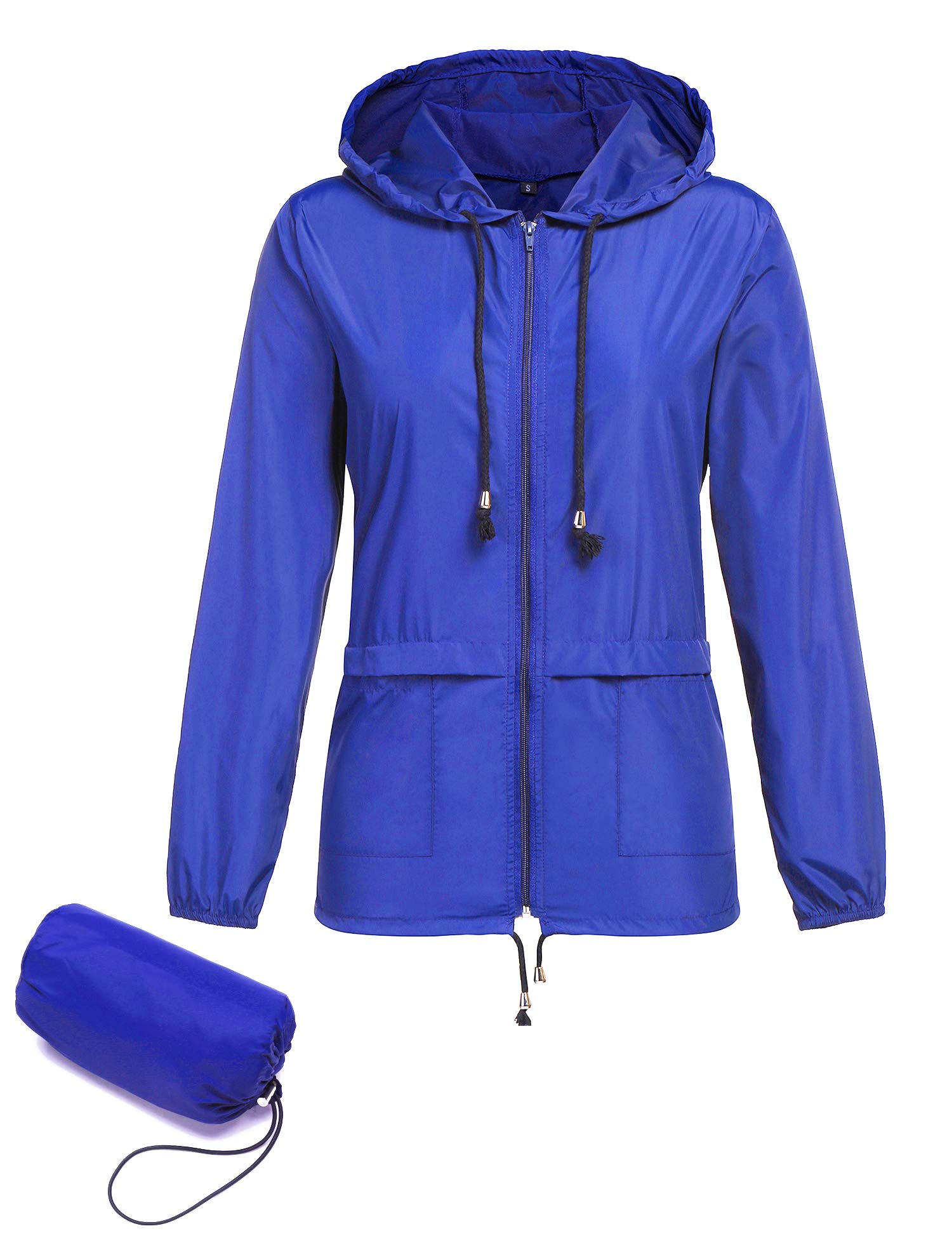 ZHENWEI Shell Raincoats Women Zip Up Mountain Camping Travel Jogging Outdoor Acvities Blue M
