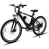 Teamyy Vélo Electrique Homme Phare LED 26 Pouces Vitesses Jusqu'à 35 km/h Avec Batterie lithium Bicyclette Bécane Noir