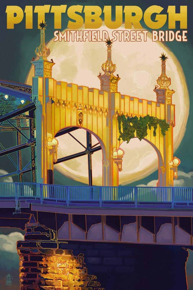 Pittsburgh, Pennsylvania - Smithfield St. Bridge and Moon (9x12 Art Print, Wall Decor Travel Poster) by Lantern Press B00N5CJHEU  9 x 12 Art Print