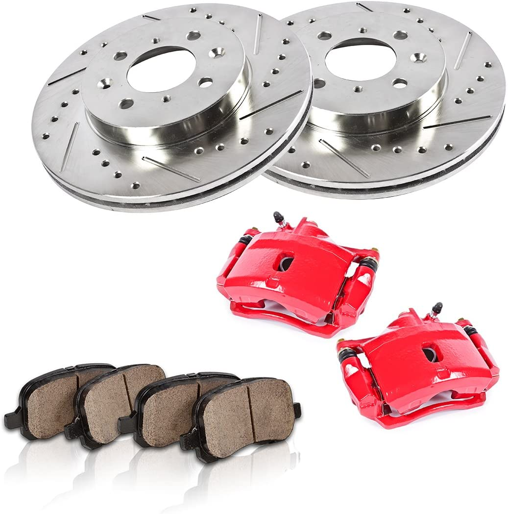 REAR Performance Red Powder Coated Calipers + 4 CCK02415 2 Quiet Low Dust Ceramic Brake Pads