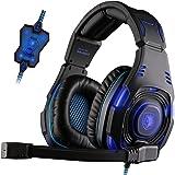 SADES SA907 - Cuffie USB Surround da 7.1 per PC Gaming Professionale, Luci LED Blue, Microfono HiFi, Controllo del volume (Nera)