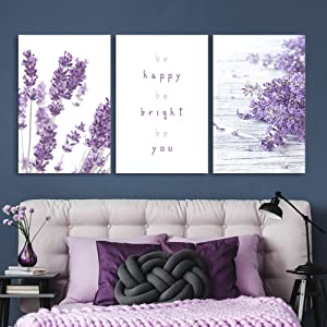 3 Panel Purple Lavender Flowers with Be Happy Be Bright Be You Quotes Gallery 16 x24 x 3 Panels