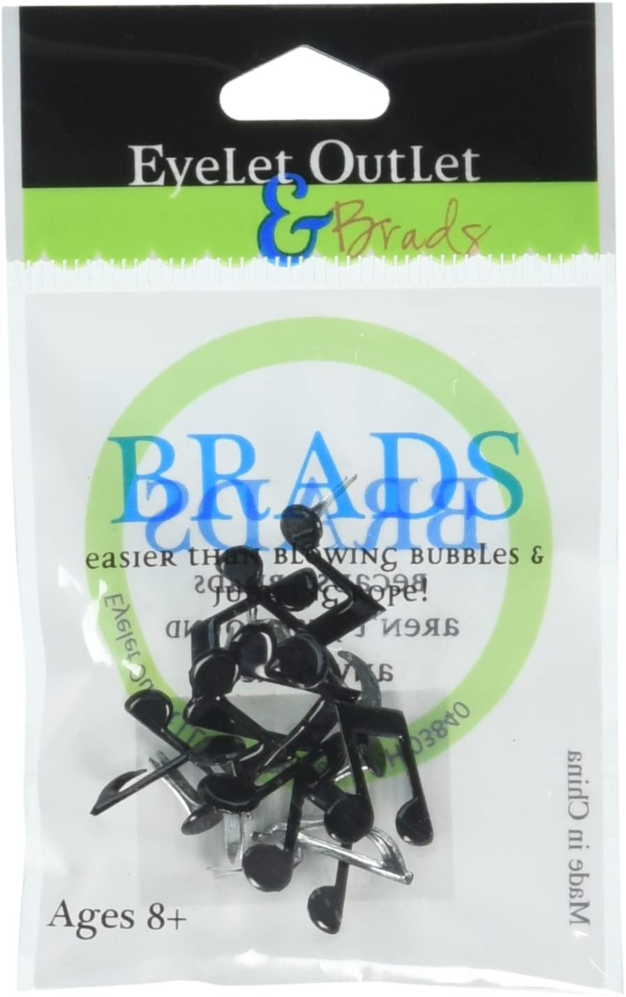 Eyelet Outlet Shape Brads Music Notes 12-Pack