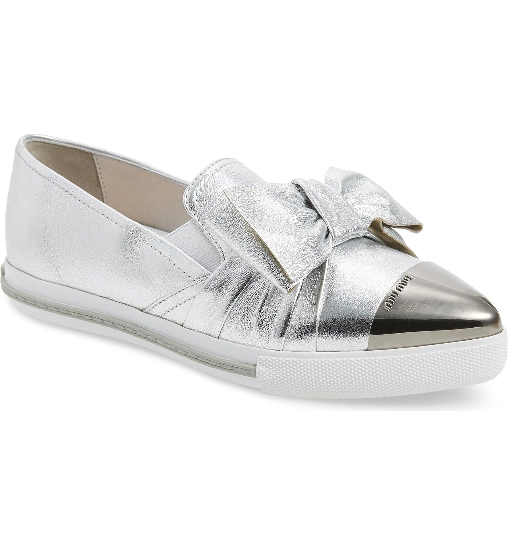 - Miu Cap Toe Hidden Wedge Sneakers shoes Silver