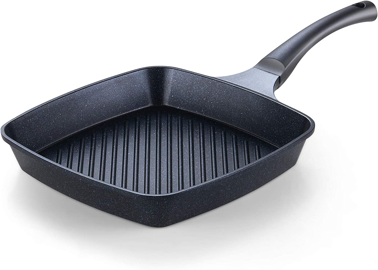 Cook N Home 2686 Nonstick Marble Coating Deep Square Grill Pan 11 x 11 Black