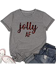 BANGELY Jolly AF T Shirt Christmas Plaid Shirts Women Letter Print Short Sleeve Tees Tops Xmas Gift Casual Holiday T-Shirt