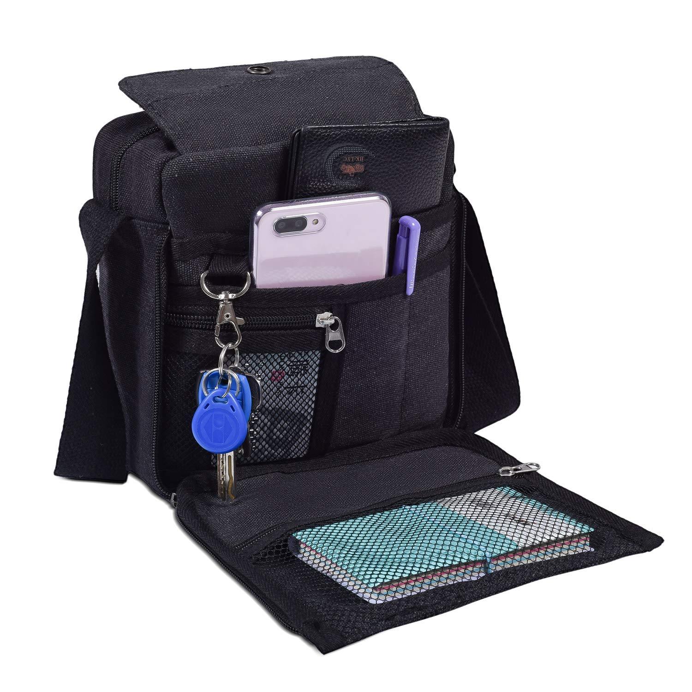 Mens Multifunction Canvas Crossbody Shoulder Bag Outdoor Travel Small Satchel Bag,Multi-Pocket Purse Handbag Organizer Bag,Black by dealcase (Image #7)