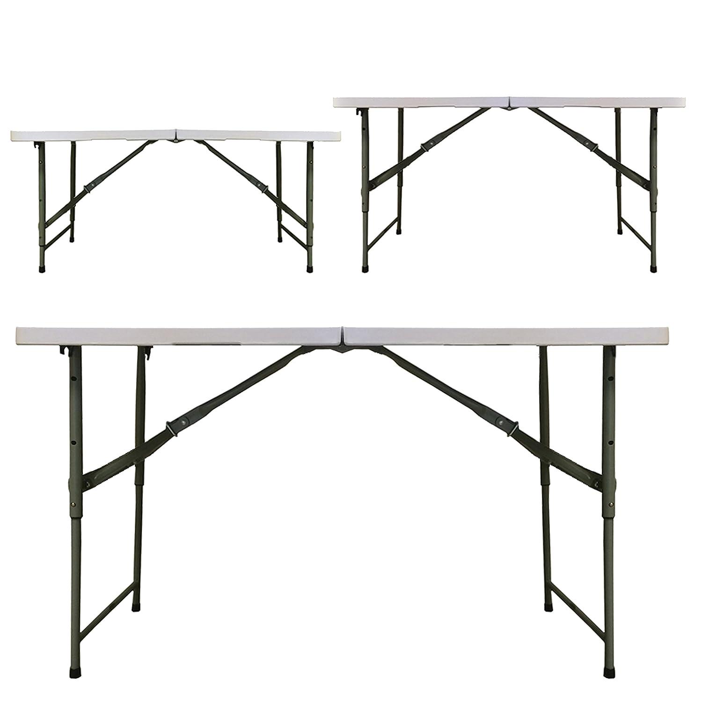 Rougestone Table Tréteau Pliable 1,2 m Réglable 3 Hauteurs Très Solide avec Boulons de Fixation en Métal  -
