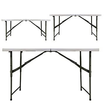 Redstone 4ft Folding Trestle Table   3 Adjustable Heights   Extra Strong  Support   Metal Securing