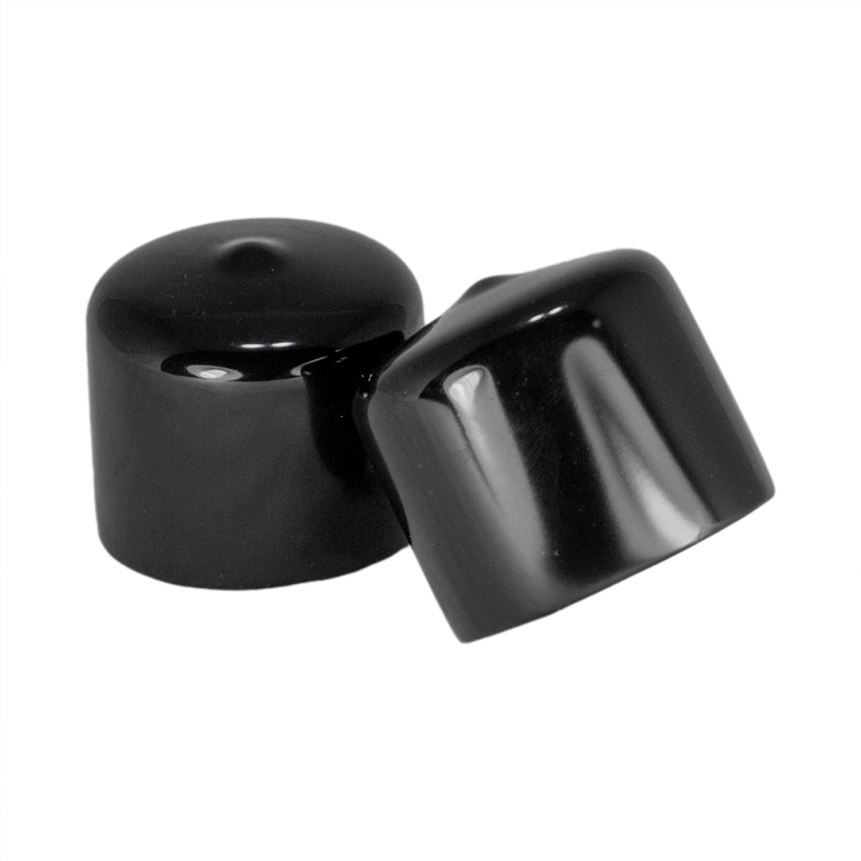 Prescott Plastics 1 1/4 Inch Round Black Vinyl End Cap, Flexible Pipe Post Rubber Cover (4)
