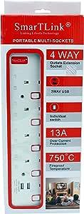 جوارب متعددة سهلة الحمل والنقل من SMaRTLINK 4 طريق، 2 منفذ يو اس بي بطول 5 متر