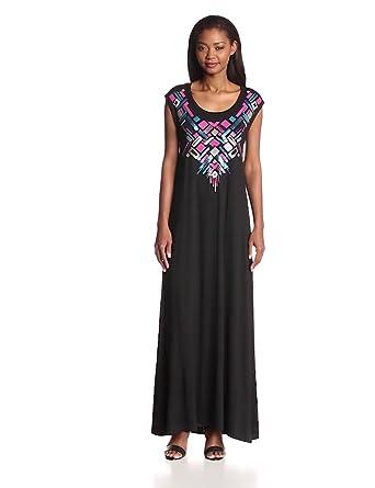 Chaser Women's Embellished Drape Back Maxi, Black, Large