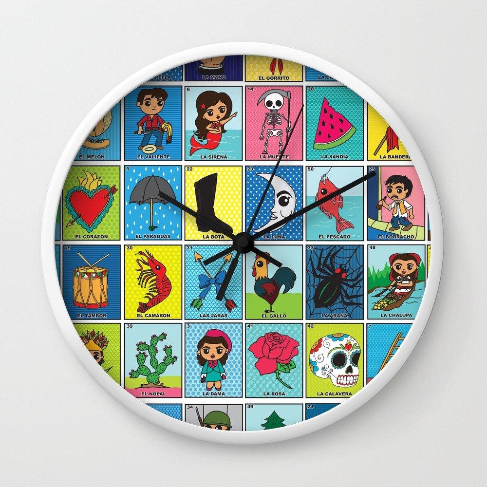 Amazon.com: Society6 LOTERIA! Wall Clock Natural Frame, Black Hands: studiolongoria: Home & Kitchen