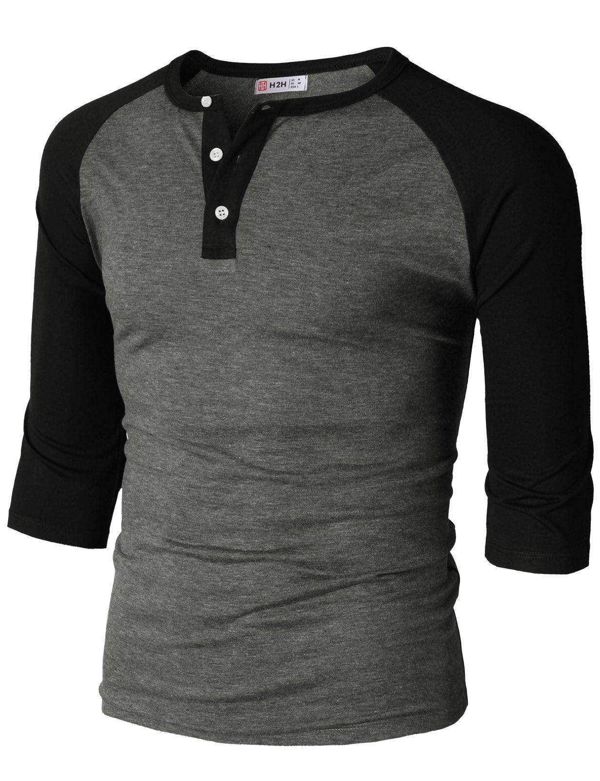 H2H Mens Casual Slim Fit Raglan Baseball Three-Quarter Sleeve Henley T-Shirts HeatherGray US L/Asia XL (CMTTS0229)
