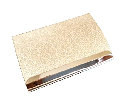Amazon stainless steel business card holder credit card id card stainless steel business card holder credit card id card case with fancy pu leather wrap and reheart Image collections