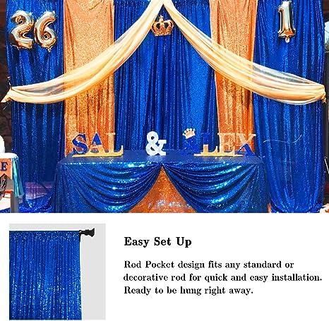 Vorhänge 2 Paneele Königsblau 70 X 200 Cm Pailletten Fotografie Hintergrund Für Hochzeiten Fotoautomaten Zum Aufhängen 60 X 20 Cm Blau Küche Haushalt