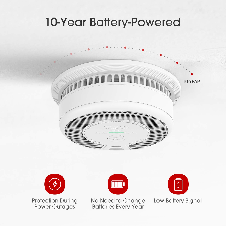 X-Sense SC06 X-Sense Alarma Combinada de Humo fotoel/éctrica y Mon/óxido de Carbono con bater/ía de 10 a/ños de vida /útil
