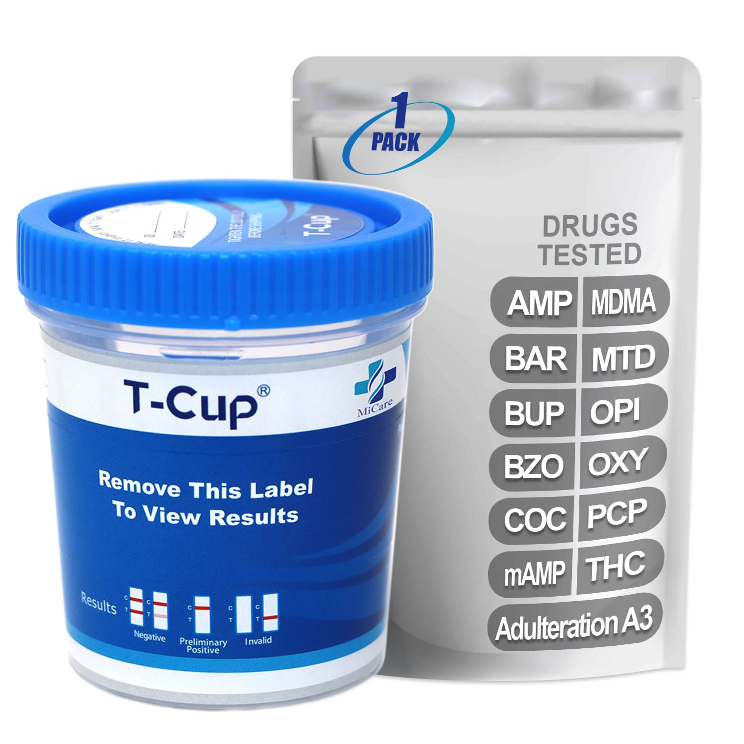 MiCare [1pk] - 12-Panel Multi Drug Test Cup (AMP/BAR/BUP/BZO/COC/mAMP/MDMA/MTD/OPI/OXY/PCP/THC with A3) #MI-TDOA-6124A3
