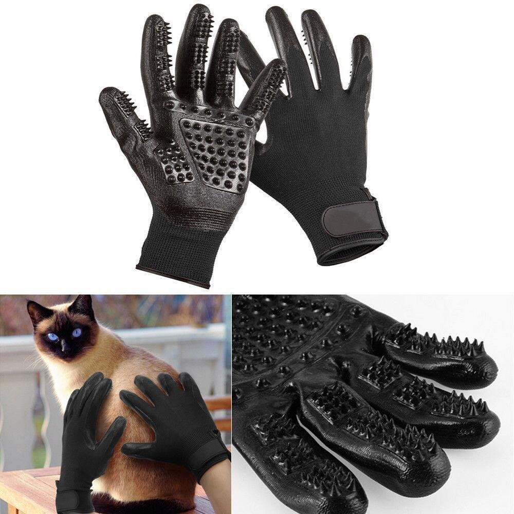 Dog Grooming Glove, Hair Removal Mitts, Horse Glove, Cat Mitts Dog Grooming Brushes Gloves Works as Grooming, Bathing, Shedding, Combing and Massage Gloves for Dogs/Cats/Horse, One Pair