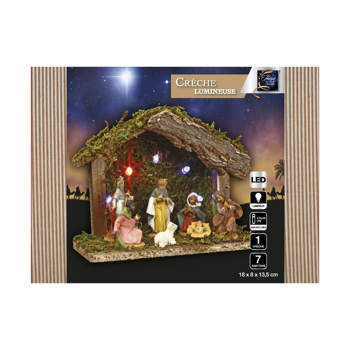 3 En 1 Ensemble De Noel 1 Creche Lumineuse Ses 7 Santons 1