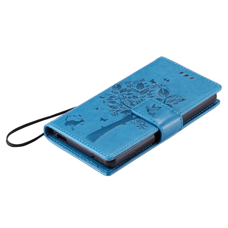 Premium Leder Flip Case im Bookstyle Folio Cover Kartenf/ächer Magnetverschluss und Standfunktion Leder Schale Etui f/ür Sony Xperia Z3 Mini Cozy Hut Sony Xperia Z3 Mini Blau H/ülle blau