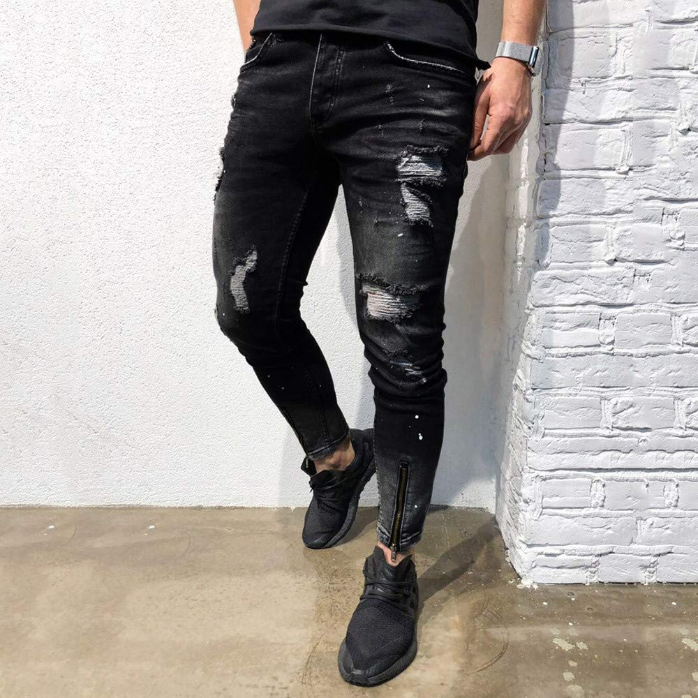 Cinhent Pants Mens Skinny Autumn Stretch Denim Zipper Ripped Stretch New Trouser by Cinhent Pants (Image #6)