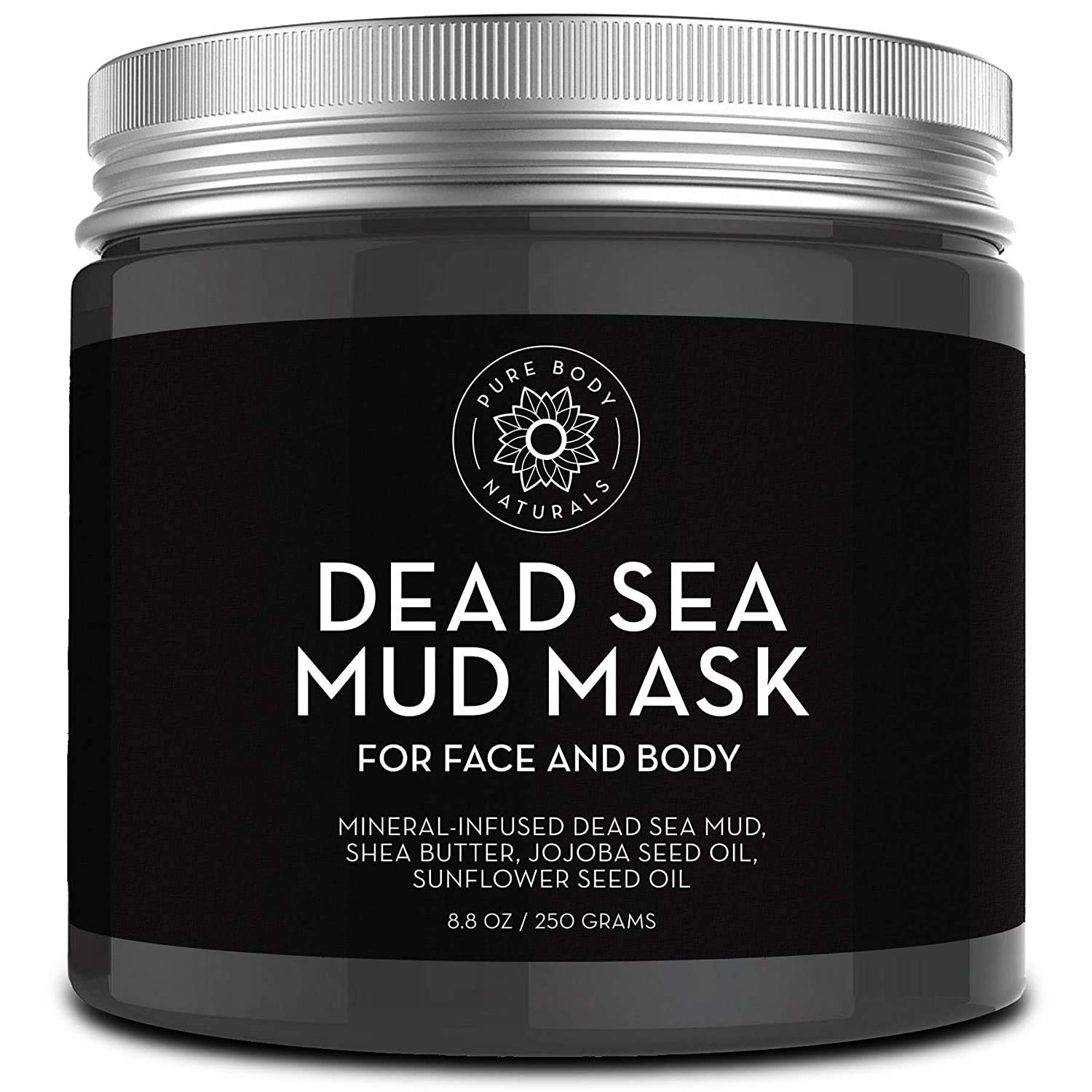 Pure Body Naturals Dead Sea Mud Mask for Face and Body, Purifying Face Mask for Acne, Blackheads, and Oily Skin, 8.8 Ounce : Beauty