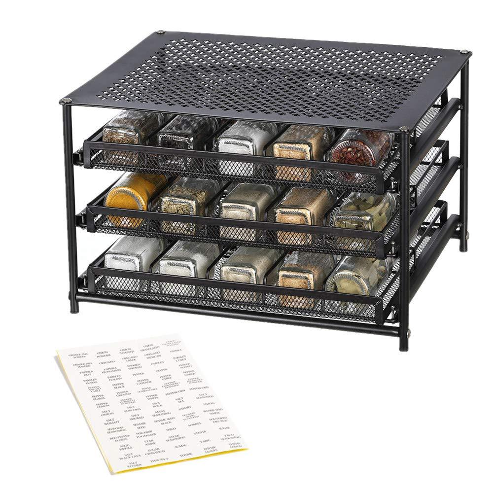 NEX 3-Tier Spice Rack 30 Bottle Standing Spice Drawer Storage Organizer for Kitchen Cabinet Countertop Dark Brown by NEX