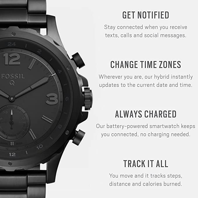 6042c7a0f66e Amazon.com  Fossil Q Men s Nate Stainless Steel Hybrid Smartwatch ...