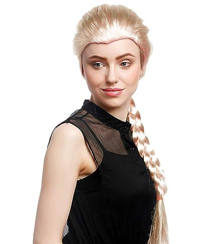 Peluca Sintética para Disfraces Personajes Talla Única Modelo Trenza Rubia, Frozen Elsa, Mujer (